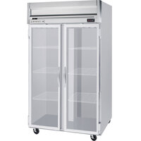 Beverage Air HFPS2-1G-LED 2 Section Glass Door Reach-In Freezer - 49 cu. ft., Stainless Steel Exterior / Interior - Specification Series
