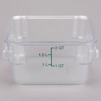 Carlisle 1072007 2 Qt. Clear Square StorPlus Container with Green Graduations