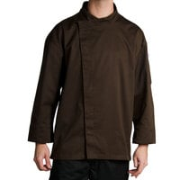 Chef Revival J113EXP-XL Knife and Steel Size 48 (XL) Espresso Brown Customizable Chef Jacket with 3/4 Sleeves and Hidden Snap Buttons - Poly-Cotton