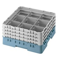 Cambro 9S800414 Teal Camrack 9 Compartment 8 1/2 inch Glass Rack