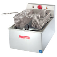 Cecilware EL-310 Stainless Steel Commercial Countertop Electric Deep Fryer with 20 lb. Fry Tank - 240V, 5500W