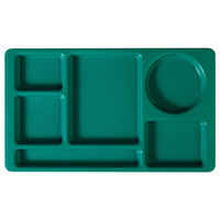 Cambro 915CW414 Camwear (2 x 2) 8 3/4 inch x 15 inch Teal Six Compartment Serving Tray - 24/Case
