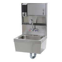 Advance Tabco 7-PS-85 Wall Mounted Hand Sink with Soap / Paper Towel Dispenser and Skirt - 17 1/4 inch x 15 1/4 inch