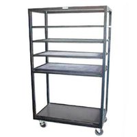 Win-Holt DR-2443 Black 43 inch x 24 inch Merchandiser Rack with Four Flat Shelves and Flat Bottom Shelf