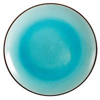CAC 666-16-BLU Japanese Style 10 inch China Coupe Plate - Black Non-Glare Glaze / Lake Water Blue - 12/Case
