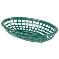 9 1/4 inch x 5 3/4 inch Plastic Oval Fast Food Basket - Forest Green 12 / Pack