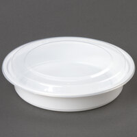 48 oz. White 9 inch Round Microwavable Container with Lid   - 150/Case
