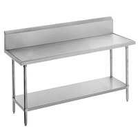Advance Tabco VKS-306 Spec Line 30 inch x 72 inch 14 Gauge Work Table with Stainless Steel Undershelf and 10 inch Backsplash