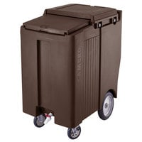 Cambro ICS200TB131 Dark Brown Sliding Lid Portable Ice Bin - 200 lb. Capacity Tall Model