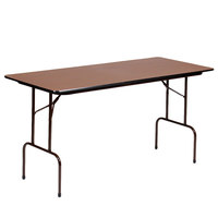 "Correll Folding Table, 30"" x 60"" Melamine Top, Walnut - CF3060M"