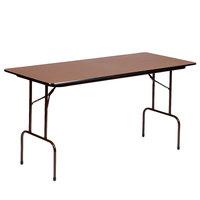 Correll CF3060M 30 inch x 60 inch Walnut Melamine Top Folding Table