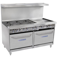 Bakers Pride Restaurant Series 60-BP-6B-G24-S26 Natural Gas 6 Burner Range with Two Standard 26 inch Ovens and 24 inch Griddle