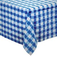 Hoffmaster 2206 54 inch x 108 inch Cellutex Navy Gingham Tissue / Poly Paper Table Cover - 25 / Case