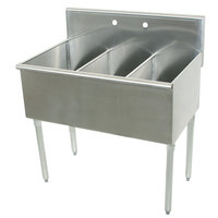 Advance Tabco 6-3-54 Three Compartment Stainless Steel Commercial Sink - 54 inch