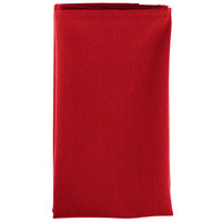 22 inch x 22 inch Red Hemmed Polyspun Cloth Napkin - 12/Pack