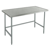 14 Gauge Advance Tabco Spec Line TVLG-485 48 inch x 60 inch Open Base Stainless Steel Commercial Work Table