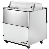 True TMC-34-DS-SS 34 inch White Two Sided Milk Cooler with Stainless Steel Interior