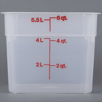 Cambro 6SFSPP190 6 Qt. Translucent Square Food Storage Container with Winter Rose-Colored Gradations