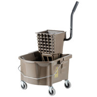 Continental 226-312BZ 26 Qt. Bronze Splash Guard Mop Bucket with Side-Press Wringer