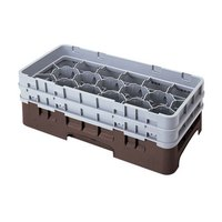 Cambro 17HS1114167 Camrack 11 3/4 inch High Brown 17 Compartment Half Size Glass Rack