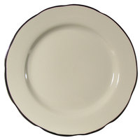 CAC SC-7B 7 3/8 inch Scalloped Edge American White (Ivory / Eggshell) Seville China Plate with Black Band   - 36/Case