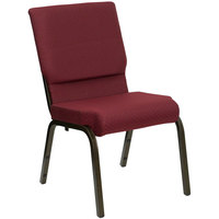 Burgundy Patterned 18 1/2 inch Wide Church Chair with Gold Vein Frame