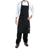Chef Revival 619BA-BK Customizable Black Full Length Chef Bib Apron - 38 inchL x 29 inchW