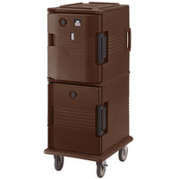 Cambro UPCHT800131 Dark Brown Ultra Camcart Two Compartment Heated Holding Pan Carrier with Casters, Top Compartment Heated - 110V