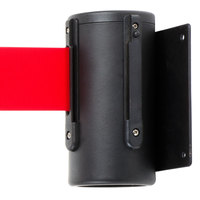Black Wall-Mount Stanchion with 7' Red Retractable Belt
