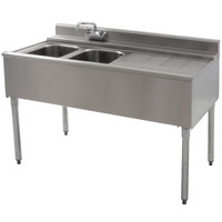 Eagle Group B4R-2-22 48 inch Underbar Sink with Two Compartments and Right Drainboard