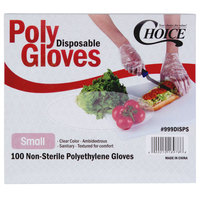 Choice Disposable Poly Gloves - Small for Food Service - 100/Pack