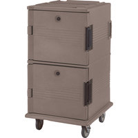 Cambro UPC1600HD194 Granite Sand Ultra Camcart Insulated Food Pan Carrier with Heavy Duty Casters