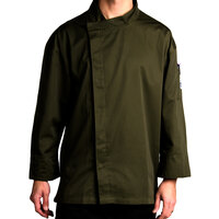 Chef Revival J113OG-5X Knife and Steel Size 64 (5X) Olive Green Customizable Chef Jacket with 3/4 Sleeves and Hidden Snap Buttons - Poly-Cotton