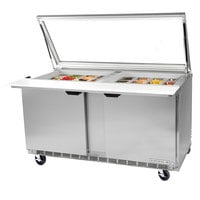 Beverage Air SPE48-18M-STL 48 inch Mega Top Refrigerated Salad / Sandwich Prep Table with Glass Lid