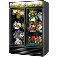 True GDM-49FC-HC~TSL01 Black Glass Door 2 Section Floral Case - 49 Cu. Ft.