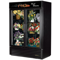 True GDM-49FC-HC-LD Black Glass Door 2 Section Floral Case - 49 Cu. Ft.