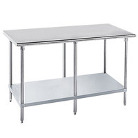 Advance Tabco GLG-248 24 inch x 96 inch 14 Gauge Stainless Steel Work Table with Galvanized Undershelf