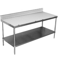 Advance Tabco SPS-247 Poly Top Work Table 24 inch x 84 inch with Undershelf and 6 inch Backsplash