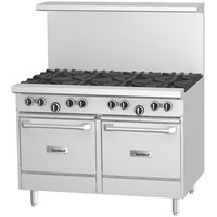 Garland G48-6G12LL Natural Gas 6 Burner 48 inch Range with 12 inch Griddle and 2 Space Saver Ovens - 280,000 BTU