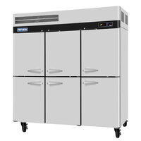Turbo Air PRO-77-6R 78 inch Premiere Series Three Section Solid Half Door Reach in Refrigerator - 77 Cu. Ft.