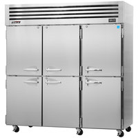 Turbo Air PRO-77-6R 78 inch Premiere Pro Series Three Section Solid Half Door Reach in Refrigerator - 76 Cu. Ft.