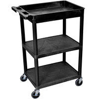 Luxor / H. Wilson STC122-B Black Three Shelf Utility Cart - 1 Tub Shelf, 24 inch x 18 inch x 36 1/2 inch