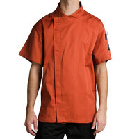 Chef Revival J020SP-M Cool Crew Fresh Size 42 (M) Spice Orange Customizable Chef Jacket with Short Sleeves and Hidden Snap Buttons - Poly-Cotton