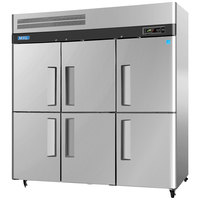 Turbo Air M3F72-6 78 inch M3 Series Six Half Door Reach In Freezer - 72 Cu. Ft.