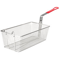 "Avantco FB1796 17 1/2"" x 9 1/8"" x 6"" Twin Fryer Basket with Front Hook"