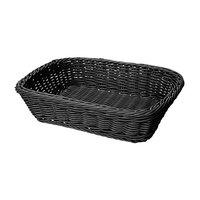 GET WB-1508-BK 11 1/2 inch x 8 1/2 inch x 2 3/4 inch Designer Polyweave Black Rectangular Basket - 12 / Case