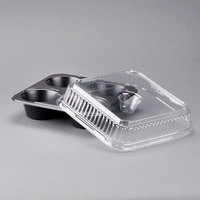 Genpak 55304 Bake N' Show Dual Ovenable 4 Cup Muffin Pan with Lid - 10/Pack