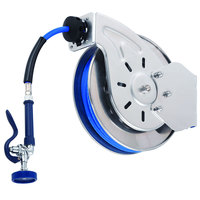 T&S B-7142-08H 50' Open Stainless Steel Hose Reel with JeTSpray Hi-Flow Spray Valve