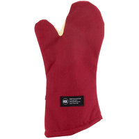 San Jamar KT0215 Cool Touch 15 inch Flame Red Conventional Oven Mitt with Kevlar®