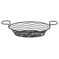 American Metalcraft BNBB821 Oval Birdnest Black Metal Basket with 2 Ramekin Holders - 11 inch x 8 inch x 3 7/8 inch